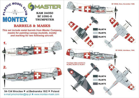 Montex KAM 1:24 Bf-109 G-6 #3 for Trumpeter Mask+Metal Part #KAM24050 N/A Montex Mask