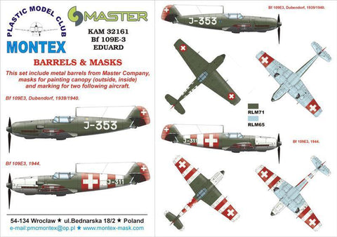 Montex KAM 1:32 Bf-109 E-3 #1 for Eduard Mask + Metal Part #KAM32161 N/A Montex Mask