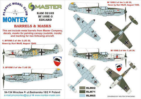 Montex KAM 1:32 Bf-109 E-3 #3 for Eduard Mask + Metal Part #KAM32163 N/A Montex Mask