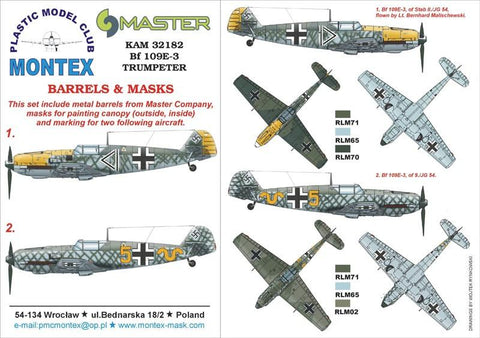 Montex KAM 1:32 Bf-109 E-3 for Trumpeter Mask+Metal Part #KAM32182 N/A Montex Mask