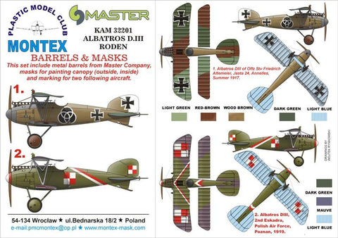 Montex KAM 1:32 Albatros D III #1 for Roden Mask+Metal Part #KAM32201 N/A Montex Mask
