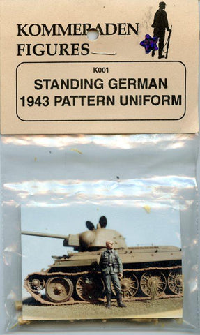 Kommeraden Figures 1:35 WWII German Soldier Standing 1943 Pattern Uniform #K001 N/A Kommeraden Figures