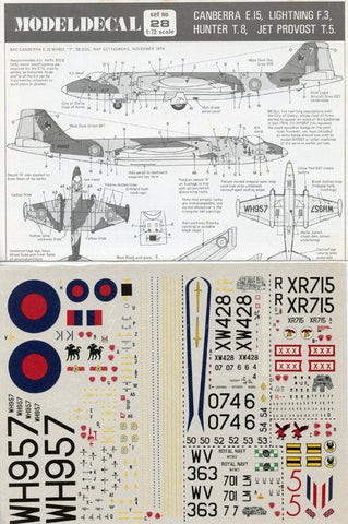 Model Decal 1:72 Canberra E.15 Lightning F.3 Hunter T.8 Jet Provost T.5 #28U N/A Model_Decal