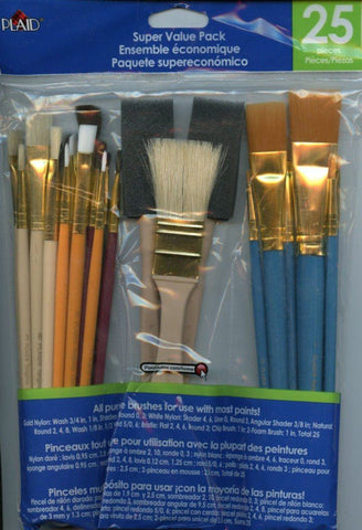 Plaid Stencil All Purpose Craft Art Paint Brush Pack Set - 25 Pieces N/A Plaid