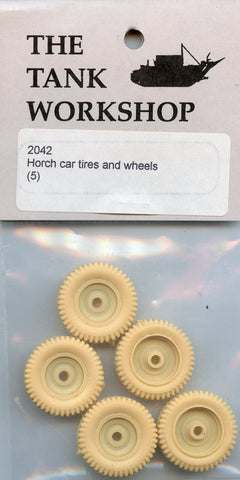 Tank Workshop 1:35 Horch Car Tires and Wheels 5 Pcs Resin Detail Set #2042 N/A The_Tank_Workshop