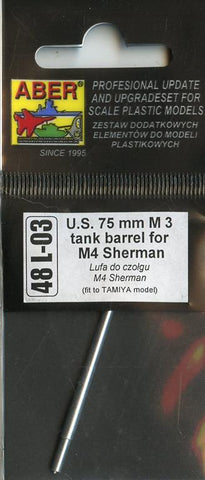 Aber 1:48 US 75 mm M3 Tank Barrel For M4 Sherman Detail Set #48L03 N/A Aber