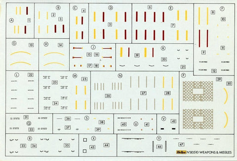 Heller 1:72 Weapons & Missiles Decal Sheet #80510U N/A Heller