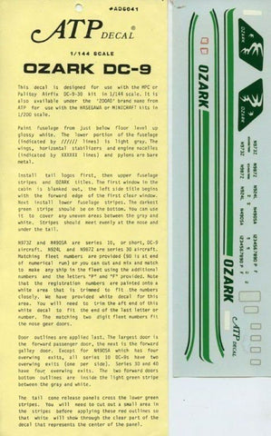 ATP Decal 1:144 Ozark DC-9 Decal Sheet #AD6041U N/A ATP_Decal