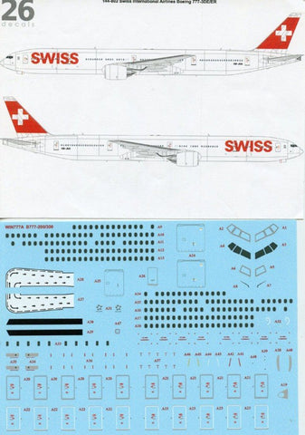 26Decals 1:144 Swiss International Airlines Boeing 777-3DE/ER Decal #144-802 N/A 26Decals Brand