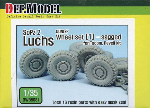 DEF Model 1:35 German Luchs 8X8 Dunlap Sagged Wheel Set-1 Tacom Revell #DW35081 N/A DEF_Model
