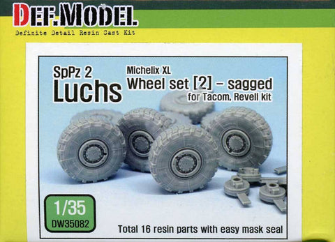 DEF Model 1:35 Ger Luchs 8X8 Michilin XL Sagged Wheel Set-2 Tacom Revell DW35082 N/A DEF_Model