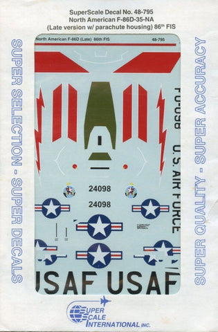 SuperScale Decals 1:48 North American F-86 D-35 NA Ver. w/Parachute 86th #48-795 N/A Super_Scale_Decals