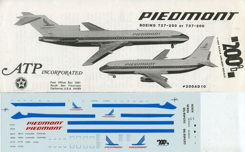 ATP 1:200 Piedmont Boeing 727-200 or 737-200 Decal Sheet #200AD10U N/A ATP
