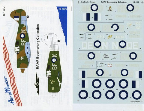 Aero Master Decals 1:48 RAAF CA-13 Boomerang Collection #48-153C N/A Aero_Master_Decals