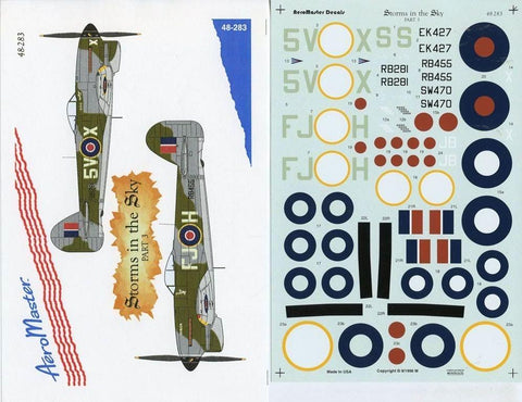 Aero Master Decals 1:48 Storms in the Sky Part 3 Decal Sheet #48-283 N/A Aero_Master_Decals