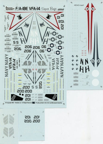 Two Bobs 1:48 F/A-18E VFA-14 Tophatters Super Bugs Decal Sheet #48040 N/A Two_Bobs