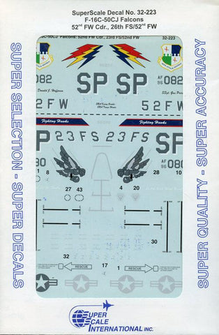 SuperScale Decals 1:32 F-1C-50CJ Falcons 52nd FW Cdr.,26th FS/52nd FW #32-223 N/A SuperScale_Decals