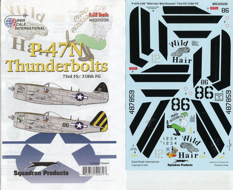 SuperScale Decals 1:32 P-47N-2-RE Wild Hair/Mad Russian 73rd FS/318 FG #MS320250 N/A SuperScale_Decals