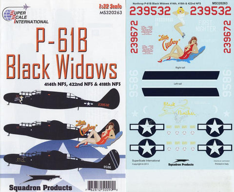 SuperScale Decals 1:32 Northrop P-61B Black Widows 414/422/418 NFS #MS320263 N/A SuperScale_Decals
