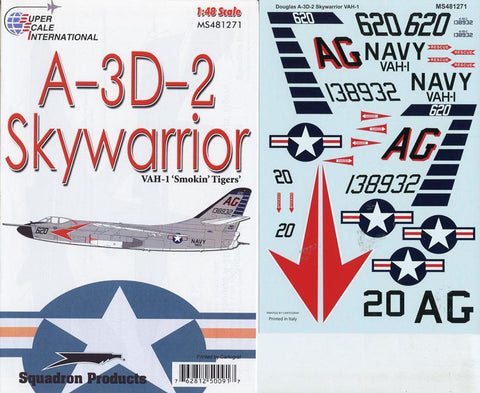SuperScale Decals 1:48 Douglas A-3 D-2 Skywarrior VAH-1 Smokin Tigers #MS481271 N/A SuperScale_Decals
