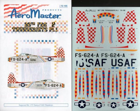Aero Master Decals 1:72 86th FBG Thunderjets Pt.I #72-195 N/A Aero Master Decals