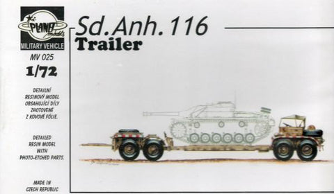 Planet Models 1:72 Sd. Anh. 116 Trailer Resin Model Kit #MV025 N/A Planet Models