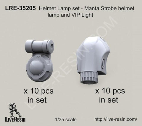 Live Resin 1:35 Helmet Lamps Set Manta Strobe & VIP Light - Resin #LRE35205 N/A Live Resin