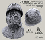 Live Resin 1:35 M17 US Protective Gasmask Damaged Hood & Helmet -Resin #LRE35268