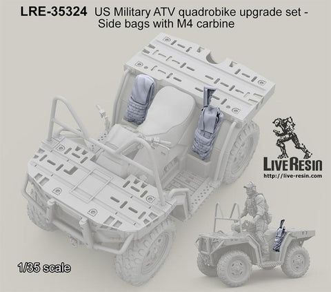 Live Resin 1:35 US ATV Quadrobike Upgrade Set Side Bags w/ M4 Carbine  #LRE35324