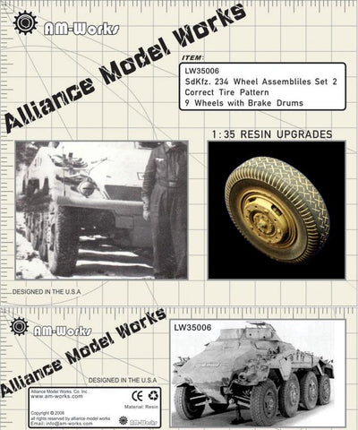 Alliance Model Works 1:35 Sd.Kfz. 234 Wheels w/ Brake Drums Set 2 #LW35006 N/A Alliance Model Works