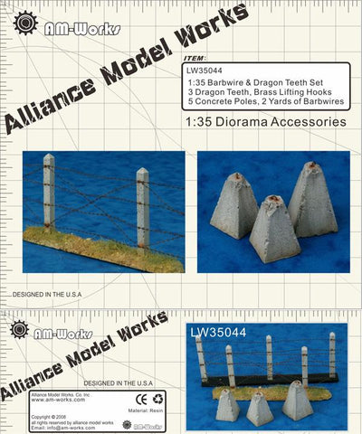 Alliance Model Works 1:35 Concrete Poles Barbed Wire Dragon Teeth #LW35044 N/A Alliance Model Works