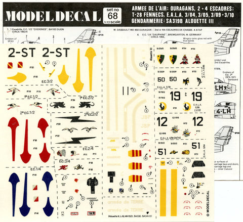 Model Decal 1:72 Armee De L'air Ouragans 2+4 Escadres #68 N/A Model Decal