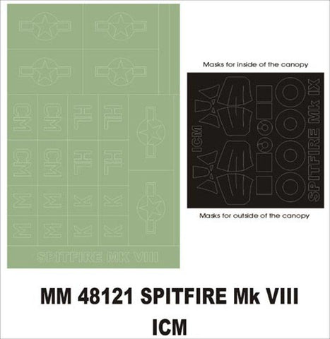 Montex Maxi Mask 1:48 Spitfire Mk VIII for ICM 48065 Stencil #MM48121 N/A Montex Mask