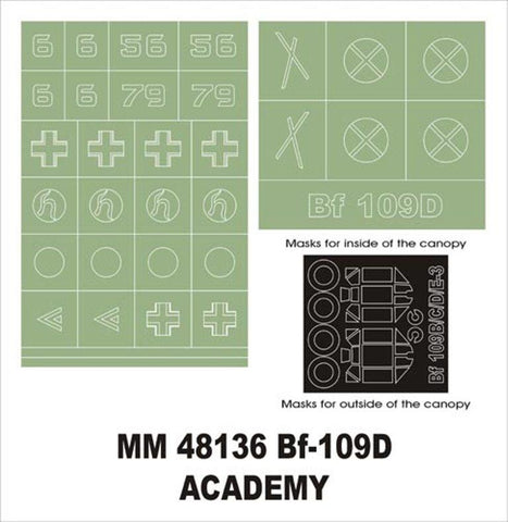 Montex Maxi Mask 1:48 Bf-109 D for Academy 2178 Spraying Stencil #MM48136 N/A Montex Mask