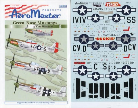 Aero Master Decals 1:48 Green Nose Mustangs of East Wretham Part 1 #48-634 N/A Aero Master Decals