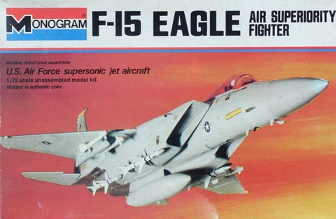 Monogram 1:72 F-15 Eagle Air Superiority Fighter USAF Jet Aircraft Kit  #7580UX