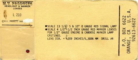 "M.V. Products 13 1/2"" S & 10"" O Gauge Red Signal Lamp Red Lens Lenses #L210 N/A M.V. Products"