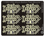 Alliance Model Works 1:350 WWII USN 40mm Bofors Twin Mounted (6) #NW35031