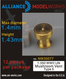 Alliance Model Works 1:350 WWII IJN Mushroom Vent Type 5 Detail Set #NW35077 N/A Alliance Model Works