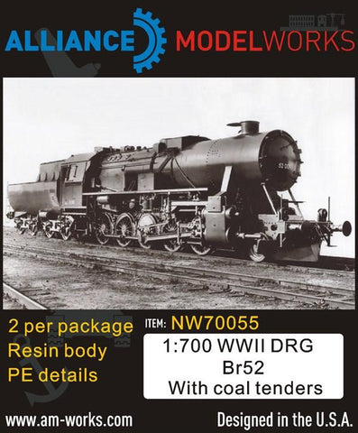 Alliance Model Works 1:700 WWII German DRG Br52 with Coal Tenders 2pcs #NW70055 N/A Alliance Model Works