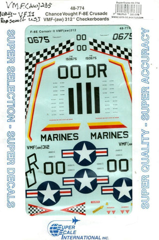 SuperScale Decals 1:48 Chance Vought F-8E Crusade VMF 312 Checkerboards #48-774 N/A SuperScale_Decals