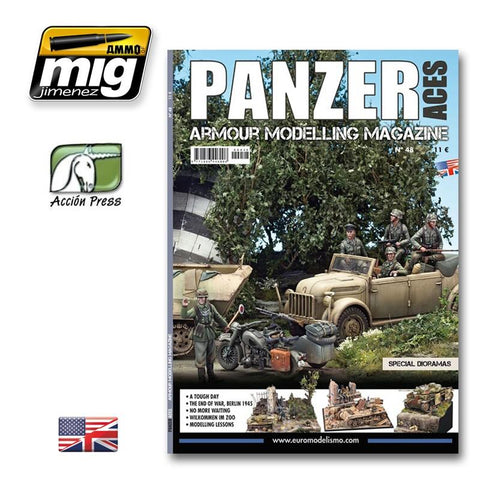 "AMMO is proud to offer Panzer Aces magazine. 68 pages. Issue 48 is focus on dioramas including  - A tough day: a small vignette in ""Operation Zitadelle"" - nd of war, urban diorama showing Berlín 1945 ruins"