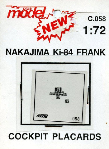 Plus Model 1:72 Nakajima Ki-84 Frank Cockpit Placards Film Detail #C.058 N/A Plus Model