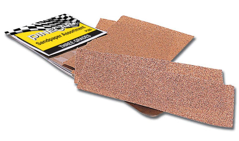 This assortment includes two each of three grades of quality sandpaper - 220 (fine), 120 (medium) and 80-grit (coarse). The handy size fits around a small wooden block easily to make a sanding tool.