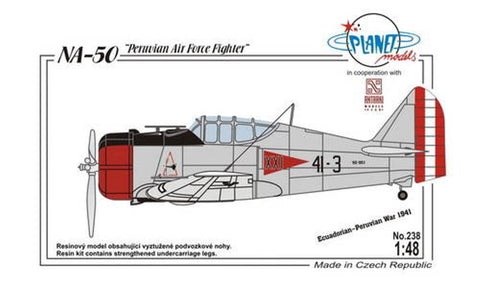 Full resin kit of a NA-50 fighter that was built by North American Co. for Peru.