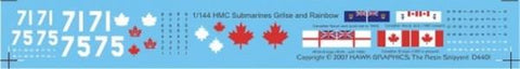 Hawk Graphics 1:144 Canadian Submarines Grilse and Rainbow C Decal Set #D4401 N/A Hawk Graphics