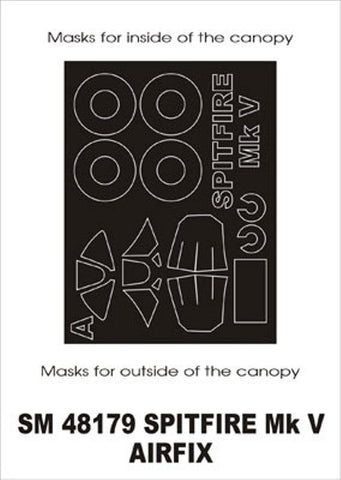 Montex Mini Mask 1:48 Spitfire Mk.V for Airfix Spraying Stencil #SM48179 N/A Montex Mask