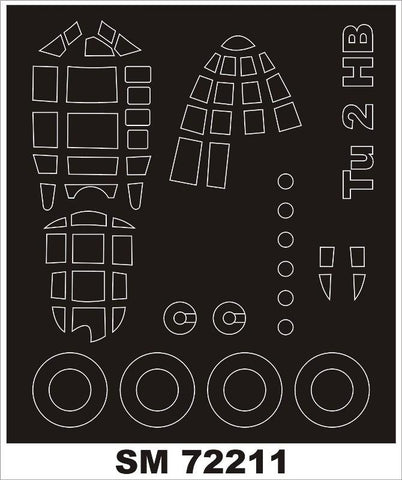 Montex Mini Mask 1:72 Tu-2 for Hobby Boss Kit Spraying Stencil #SM72211 N/A Montex Mask