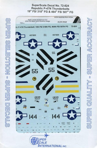 SuperScale Decals 1:72 Republic P-47N Thunderbolts 19th FS/318th FG #72-824 N/A Super Scale Decals