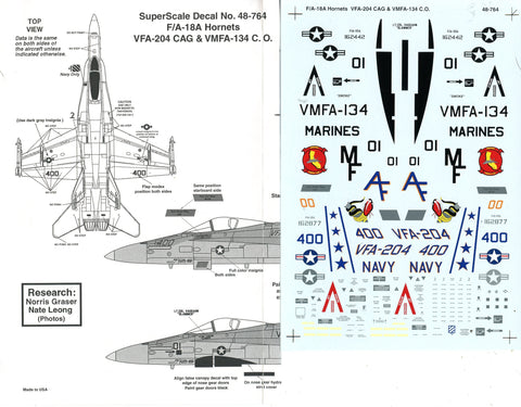 SuperScale Decals 1:48 F/A-18A Hornets VFA-204 CAG VMFA-134 C.O. #48-764 N/A Super Scale Decals